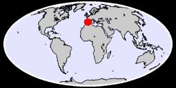 39.38 N, 0.00 W Global Context Map