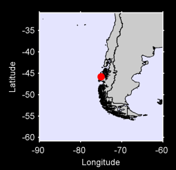 45.81 S, 75.00 W Local Context Map