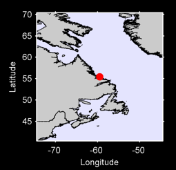 55.45 N, 59.53 W Local Context Map