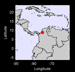 8.84 N, 75.41 W Local Context Map
